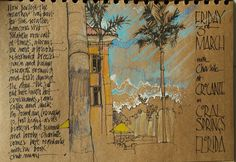Art by Pat Southern-Pearce from Urban Sketchers. (I love the calligraphy/brown paper and color w/ white pen combo)