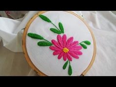 hand embroidery flowers with cord flower stitch | hand embroidery stitches tutorial in telugu - YouTube