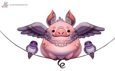 Daily Paint Flying Pig-eon by Cryptid-Creations Time-lapse, high-res and WIP sketches of my art available on Patreon (: Gato Animal, Animal Puns, Cute Animal Drawings, Cute Drawings, Pig Images, Tout Rose, Pig Drawing, Pig Art, Cute Piggies