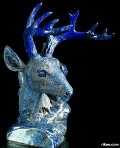 "Stunning 8.1"" Carved Lapis Lazuli Deer Head Sculpture. Stone origin : Afghanistan. Via rikoo.com"