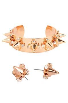 rose gold pyramid cone studs and bangle
