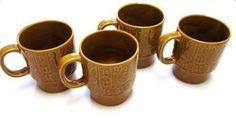 Harvest Gold Flower Stoneware Coffee Cups Tea by sweetie2sweetie, $12.99
