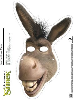 Free Printable Shrek Donkey Mask