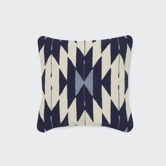 Handwoven Wool Pillow in Blue and Cream