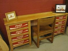 Unique Coca Cola Coke Crate Oak Wood Rustic Desk