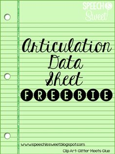 Articulation data sheet freebie