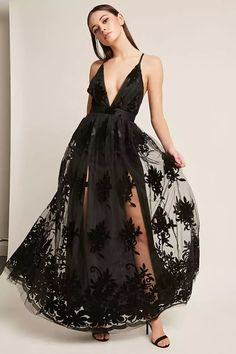 Product Name:Plunging Floral Mesh Maxi Dress, Category:dress, Price:58