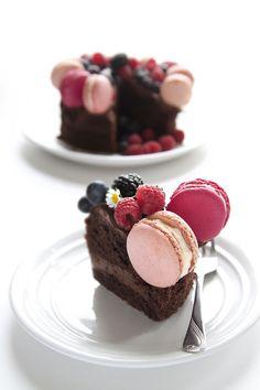 Chocolate Buttercream Sponge Cake decorated with Blackberry & Raspberry Macarons