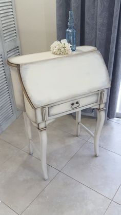 SOLD Shabby Chic Secretary Desk Vintage Drop by DStressedToImpress Shabby Chic Furniture, Painted Furniture, Painted Secretary Desks, Plum Bedding, Small Drawers, Gray Interior, Storage Compartments, Vanity Bench, The Originals