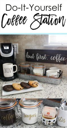 How to set up a functional coffee station in your kitchen! - How to set up a functional coffee station in your kitchen! How to set up a functional coffee station in your kitchen! Easy Home Decor, Cheap Home Decor, Homemade Home Decor, Diy Home Decor On A Budget, Homemade Crafts, Home Decor Styles, Diy Casa, First Apartment, Apartment Kitchen