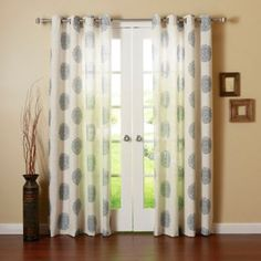 Decorinnovation Medallion Grommet Top Window Curtain Panel Pair…