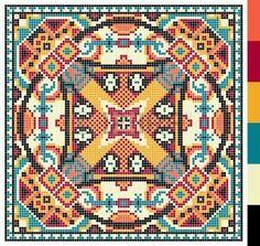 geometric square pattern for cross stitch ukrainian traditional embroidery, who like hand made and creation, pixel ornamental vector illustration – Kaufen Sie diese Vektorgrafik bei Shutterstock und finden Sie weitere Bilder. Cross Stitch Pillow, Cross Stitch Charts, Cross Stitch Designs, Cross Stitch Patterns, Cross Stitch Geometric, Modern Cross Stitch, Crochet Pillow, Tapestry Crochet, Diy Embroidery