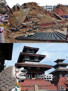 Durbar Square, zwei wunderschöne Tempel vor und nach dem Erdbeben.. Erdbeben in Nepal. Bilder aus Nepal und Indien