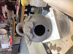 Coil constructed bird house, ceramics II