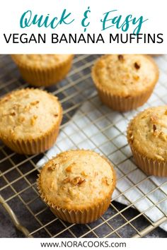 Quick & Easy Vegan Banana Muffins made in just 1 bowl! SO fluffy and moist. Vegan Brunch Recipes, Vegan Baking Recipes, Delicious Vegan Recipes, Vegan Desserts, Snack Recipes, Yummy Food, Vegan Food, Vegan Banana Muffins, Quick Easy Vegan