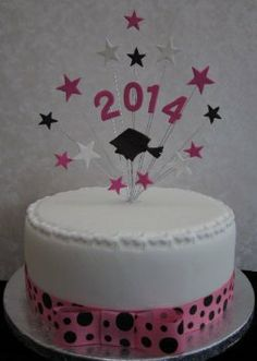 Graduation Cake Topper 2014 Pink, White & Black With Graduation Cap & Stars Ideal For A 20cm Cake: Amazon.co.uk: Kitchen & Home