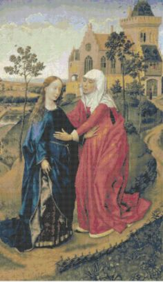 The Visitation of Mary Medieval Religious Art - Counted Cross Stitch Pattern