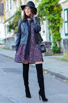 Outfit Blumenkleid Herbst Lederjacke und Zara Overknee Boots 12 #lederjacke #blumenkleid #overknees #hut