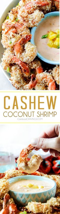 Baked crunchy, juicy Coconut Cashew Shrimp with Pineapple Sweet Chili Dip way better than takeout without the extra fat or cost!