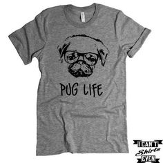 """The listing is for one short-sleeve unisex crew-neck t-shirt with """"Pug Life """" print. All t-shirts are unisex. We carry XS, S, M, L, XL, 2XL, 3XL Laying Flat Measurements in Inches: Width (armpit to ar"""