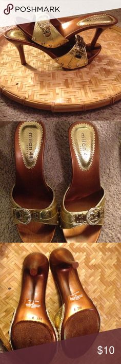 New Milan 44 8 1/2 kitten heel Gold with rhinestone accents Shoes Heels