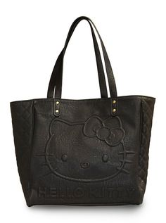 """Hello Kitty"" Quilted Tote by Loungefly (Black) #bag #quilted #black #hellokitty #tote"