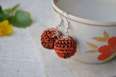 Small Earrings – Ball earrings  Round earrins – a unique product by MiracleFromThreads on DaWanda
