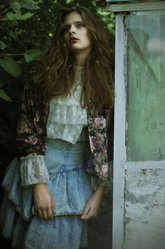 #Hanna #Komasińska #greenhouse #fashion #model #floral #green #vintage #lace #denim #photography # girl