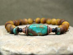 Mens Bracelet - Mens Jewelry - Mans Bracelet - Gift for Him - Turquoise Bracelet - Tiger Eye Jewelry - Beaded Bracelet Bracelets For Men, Beaded Bracelets, Leather Bracelets, Bracelet Men, Charm Bracelets, Jewelry Crafts, Handmade Jewelry, Men's Jewelry, Bracelet Turquoise