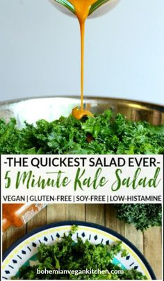 Take 5 minutes and make this simple, yet flavorful kale salad that is naturally vegan, gluten-free, and appropriate for low-histamine diets! Perfect on it's own OR can be used in salad wraps or sandwiches.  #kalesalad #kalesaladrecipes #kalesaladeasy #kalesaladrecipeshealthy  #kalesaladvegan #bohemianvegankitchen Quick Vegan Meals, Easy Vegan Dinner, Raw Vegan Recipes, Vegan Dinners, Vegan Gluten Free, Tofu Dinner Recipes, Kale Salad Recipes, Whole Food Recipes, Vegan Muffins