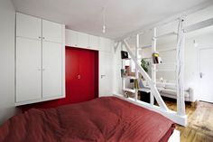 Maximizing the living space in a small 25sqm Parisian apartment - red and white color palette