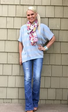 Love this casual look. Cabi Sky Stripe Tee and Flora Scarf! Get this look at Rebeccafrerking.cabionline.com