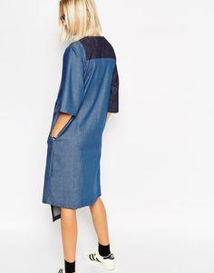 Image 2 - ASOS WHITE - Robe mi-longue en jean avec détail empiècement
