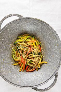 vegetable stir fry in wok by IriGri on @creativemarket