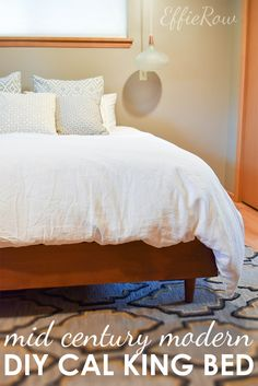A lovely and easy-to-build DIY midcentury modern bed. Built for a California kin. - A lovely and easy-to-build DIY midcentury modern bed. Built for a California king bed with a boxspr - Mid Century Bed, Mid Century Modern Bedroom, Bedroom Modern, Trendy Bedroom, Modern Room, Diy Modern Bed, Modern Wall, Modern Decor, Modern Living