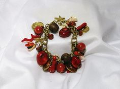 Carneool Agate Sea Shell Vintage Crimson bedel armband Faux