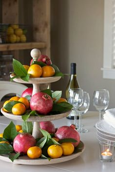 pretty assortment of fruits and leaves makes for easy centerpieces
