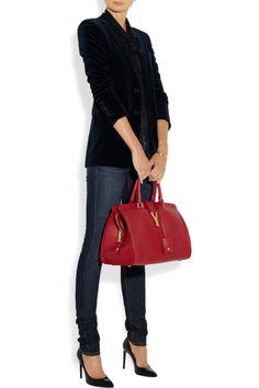 Saint Laurent|Cabas Classique Y medium leather tote|NET-A-PORTER.COM