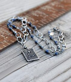 Amulet Necklace. Royal Blue Sodalite Gemstones. Silver Wrapped. 81216
