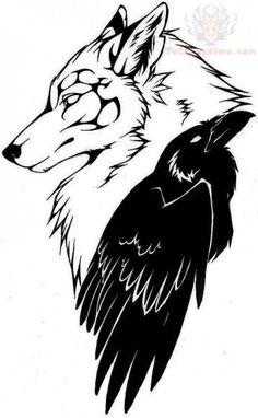 wolf head and raven tattoo design. I really like this! Although the beak needs tweaking. Hmmmmmm.....