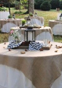 Burlap as table clothes...styling buzzy craftery, photo cindy stansberry  atlanta, ga