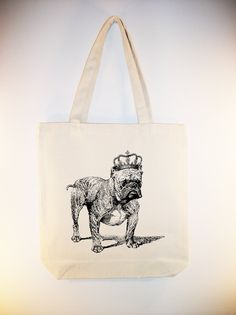 Bulldog with Vintage Crown on  15x15 Canvas Tote -- larger zipper top size available