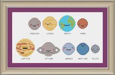 Kawaii solar system: cute planet cross-stitch pattern (pattern by nerdylittlestitcher)