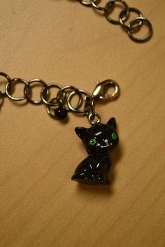 Black Kitty Charm Chain Bracelet