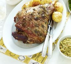 Roast lamb with spring herb crumbs recipe - Recipes - BBC Good Food Bbc Good Food Recipes, Healthy Recipes, Crumb Recipe, Oil Recipe, Lamb Dishes, Veggie Dishes, Good Roasts, Lamb Recipes, Sunday Recipes