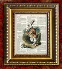 ALICE In WONDERLAND Upcycled Vintage Art Print on by EncorePrints