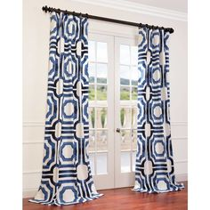 Donato Meca Geometric Printed Cotton Rod Pocket Single Curtain Panel