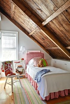 I have always loved rooms like this with the a line ceiling.  Just seems so cozy to me!!