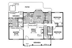Country Style House Plan   3 Beds 2 Baths 1412 Sq/Ft Plan #18