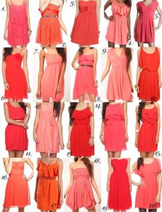 92 bridesmaid dresses for $55 or less in alot of colors :) « Weddingbee Boards  Love all the shades of Orange :)